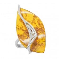 Honig Bernstein und Silber Ring