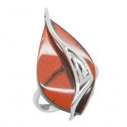 Big silver ring with genuine cherry amber