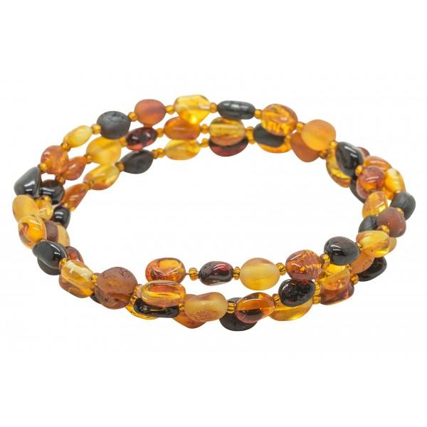 Bracelet Accordeon 3 tours en ambre multicouleur
