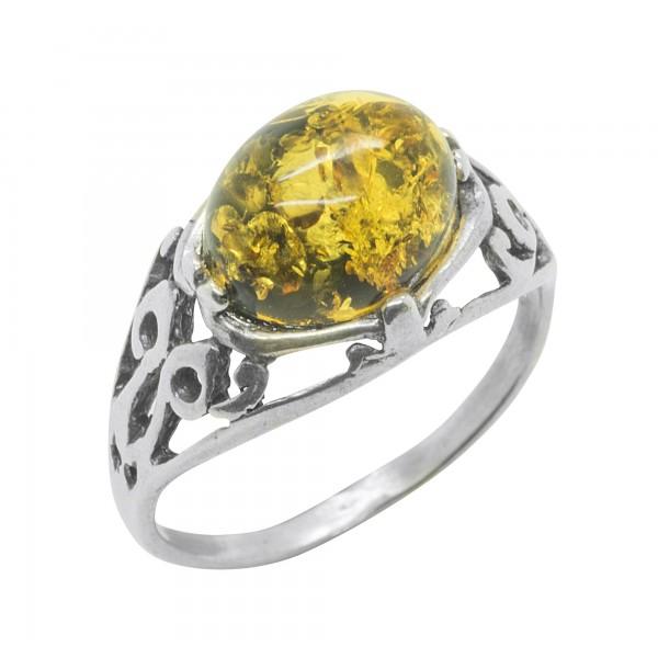 Vintage green amber ring