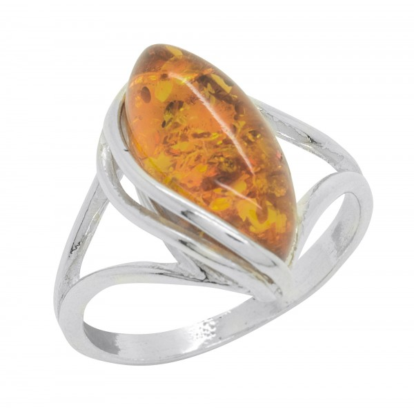 Twisted silver ring with amber stone