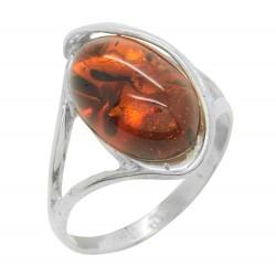 donna anello in argento intrecciato e ambra cabochon cognac