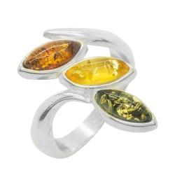 Bague Argent et Ambre tri-couleur (miel, citron et vert)