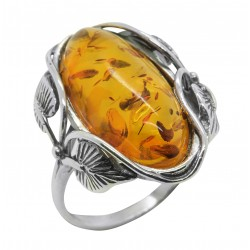 Cognac ring in natural amber
