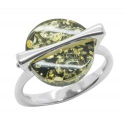 Ring in natürlichen grünen Bernstein und Silber 925/1000