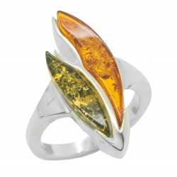 Silver and amber bi-color green / cognac ring