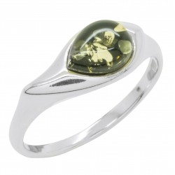 Green Amber Ring and Silver 925/1000