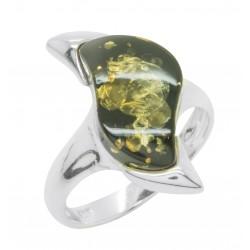 Ring grün Bernstein und Silber 925/1000 Zick-Zack-Form