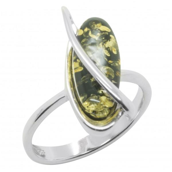 Bague en Ambre vert et Argent forme olive