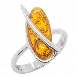 Amber cognac and silver ring