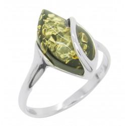 Ring grün Bernstein und Silber 925/1000
