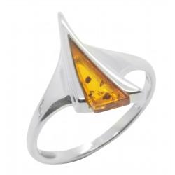 Anello Ambra argento 925/1000 cognac e la forma triangolare