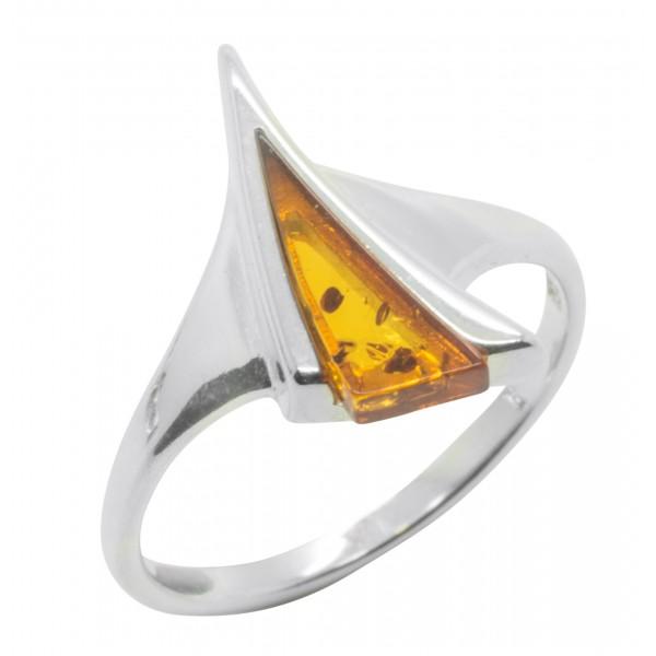 Bague Ambre cognac et Argent 925/1000 forme triangle