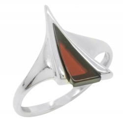 Natural Cherry and Silver 925/1000 Amber Ring, Triangle Shape