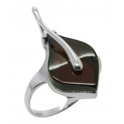 Kirsche Bernstein Ring und Silber 925/1000