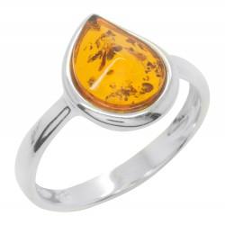 Ring Bernstein Cognac und 925/1000 Silber, Tropfenform