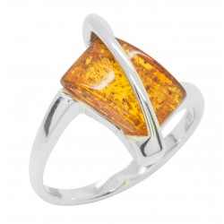 Ring in Amber cognac and Silver 925/1000, rectangular shape