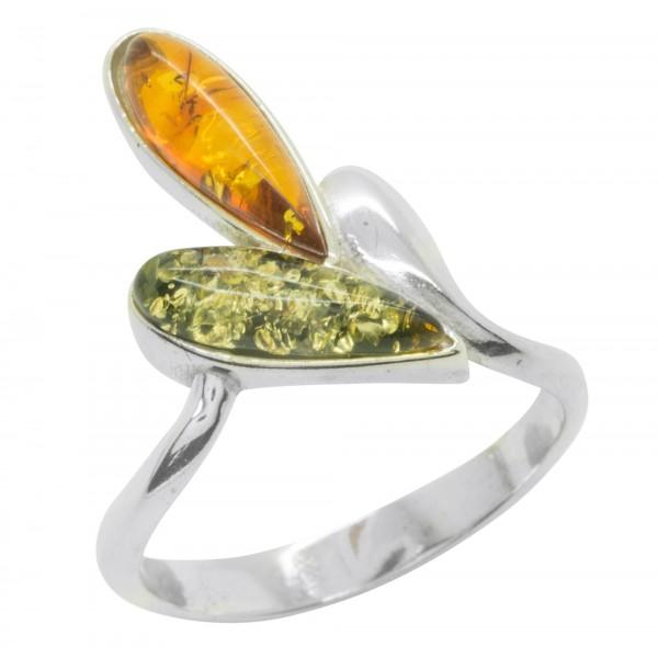 Bague en argent et ambre naturel couleur vert et miel