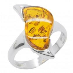 Ring Bernstein Cognac und 925/1000 Silber Zick-Zack-Form