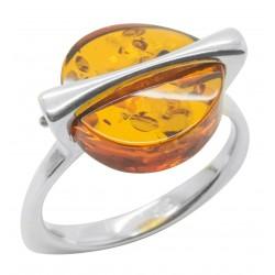 anillo de ámbar coñac natural y plata 925/1000