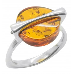Silver ring with natural cognac colour amber