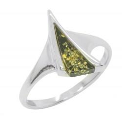 Anello verde Ambra e Argento 925/1000, figura del triangolo