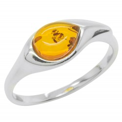 Amber cognac ring and Silver 925/1000