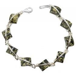Silber Armband und natürliche grüne Bernstein