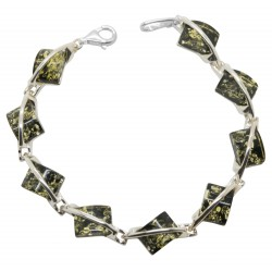 Silver bracelet and natural green amber