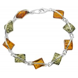Silver and multicolored amber bracelet