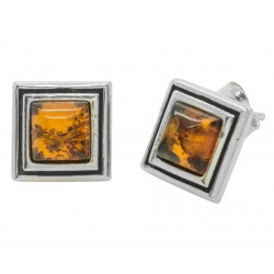 Square silver and honey amber earring
