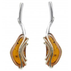 Honey silver and amber earring