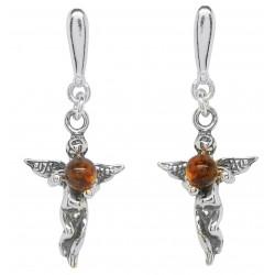 Pendiente de ángel en plata con perlas de ámbar