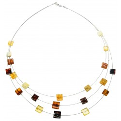 Natural Amber Necklace Multicolored Square Shape