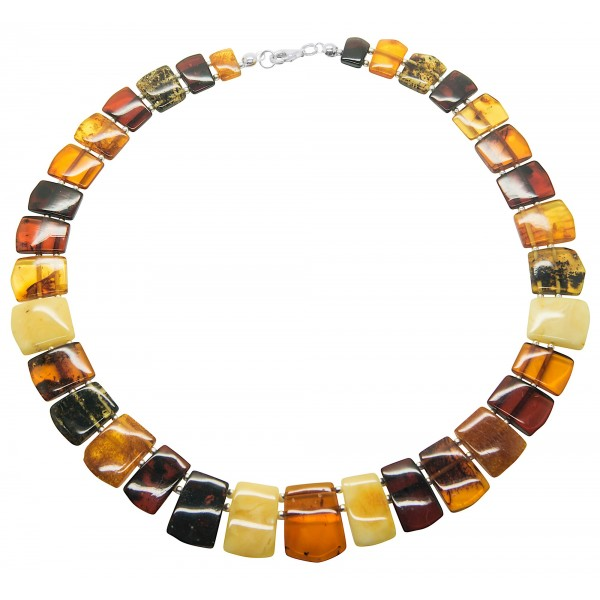 Collier d'ambre naturel multicolore collection luxe