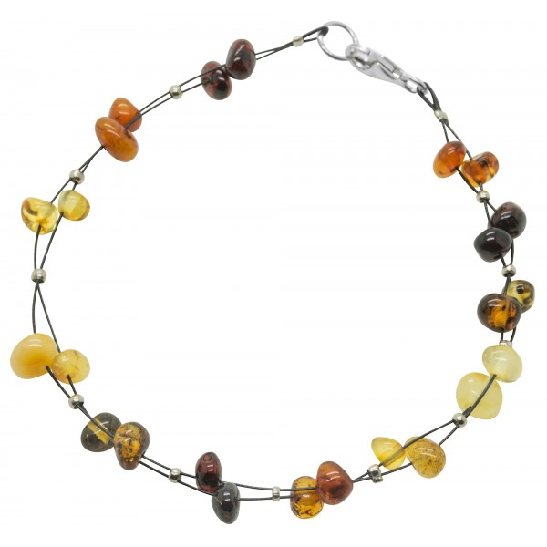Bracelet ambre bébé multicolore 3 lignes
