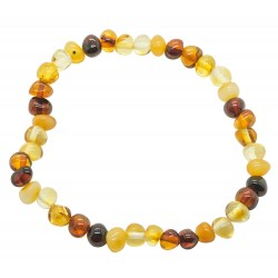 Bracelet adulte perle d'ambre multicolore