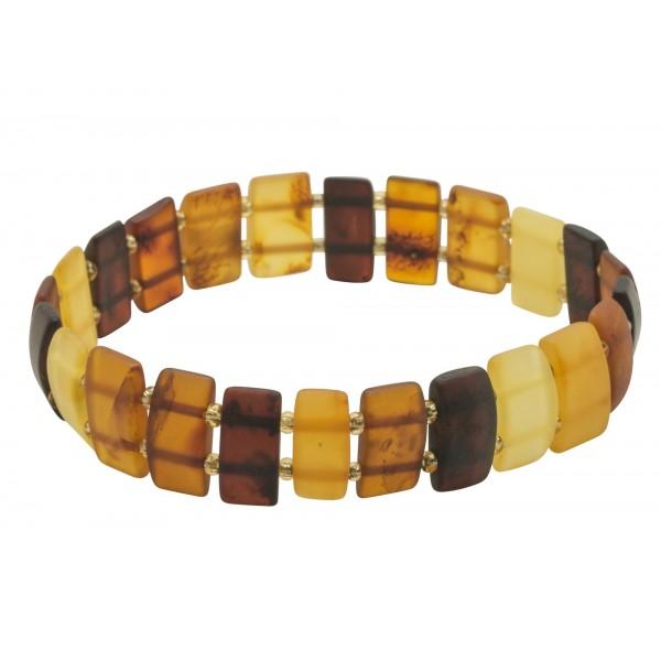 Bracelet adulte d'ambre multicolore brut
