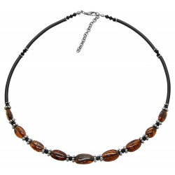 Collier d'ambre naturel couleur cognac