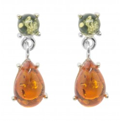 Earring silver and amber genuine drop of water and pearl