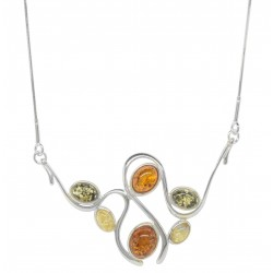 Multicolored amber necklace and Silver