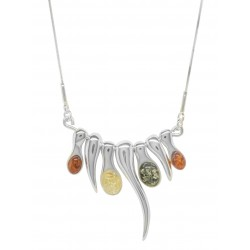 Ambra collana in argento Sterling colorato