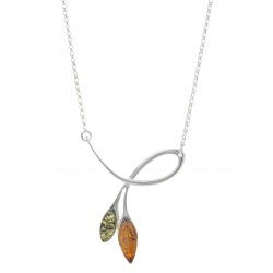 Necklace in silver and multicolored amber