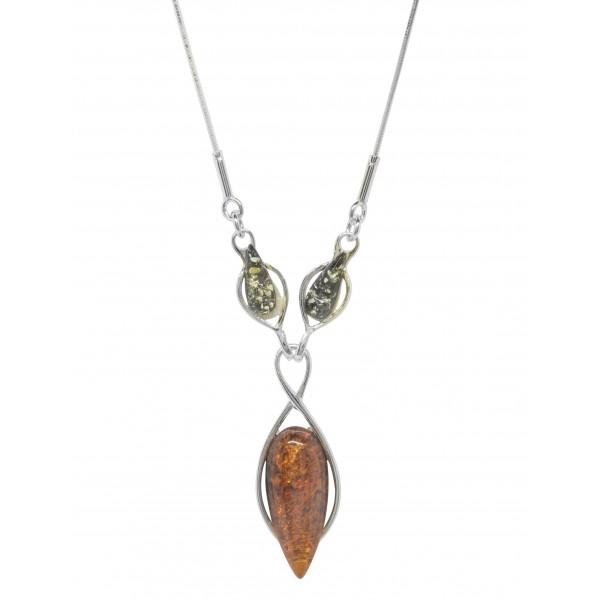 Collier perle d'Ambre et Argent Infinity - vert