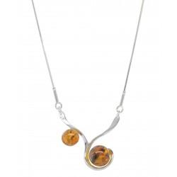 Silber und Cognac Bernstein Halskette