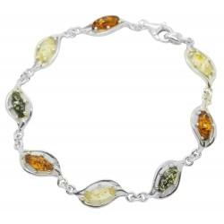 Bracciale in ambra e argento 925/1000 Multicolor
