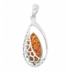 Natural silver and amber pendant in cognac color