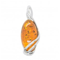Silver and natural amber pendant