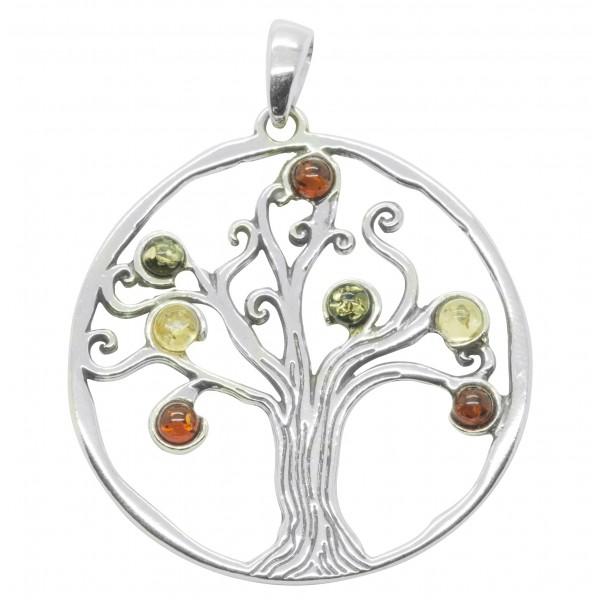 8c16b0ad3c4 Pendentif ambre et Argent Sterling 925 Arbre de la Vie - Bijoux d Ambre