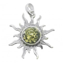 Green and Silver Amber Sun Pendant